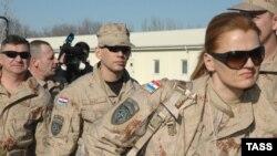 Kyrgyzstan -- NATO/ISAF coaltion (Croatia) servicemen at the Manas air base, 19Feb2009