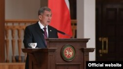 Tatarstan President Rustam Minnikhanov, delivers his annual address to the Russian parliament on September 21.