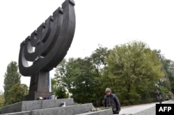 Раїса Майстренко на вшануванні пам'яті жертв розстрілів у Бабиному Яру. Київ, 23 вересня 2016 року
