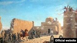 Картина, изображающая сражение у стен Геоктепинской крепости.