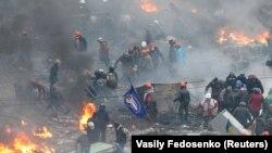Майдан в дни противостояния, февраль 2014 г.