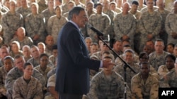 U.S. Secretary of Defense Leon Panetta speaks to U.S. military personnel in Djibouti while en route to Afghanistan.