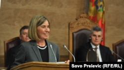 EU foreign policy chief Federica Mogherini addresses the Montenegrin parliament in Podgorica on March 1.