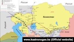 «ҚазТрансГаздың» құбырларының картасы. (Сурет kaztransgas.kz сайтынан алынған)
