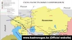 """Схема магистральных газопроводов в Казахстане, по данным компании """"Казтрансгаз""""."""