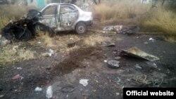 Pamje nga një shpërthim i mëparshëm i një mine në Ukrainë