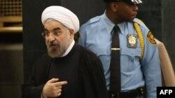 Իրանի նախագահ Հասան Ռոհանին ՄԱԿ-ի Գլխավոր ասամբլեայի նստաշրջանում ելույթից հետո, Նյու Յորք, 24-ը սեպտեմբերի, 2013թ․