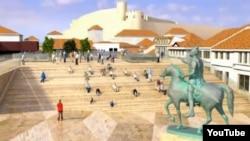 Дигитален приказ на плоштадот Скендер бег во скопската чаршија.