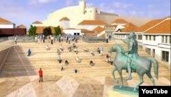 Дигитален приказ на плоштадот Скендер бег во Скопје.