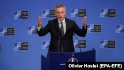 NATO Secretary-General Jens Stoltenberg held a press conference ahead of the NATO Foreign ministers meeting at NATO headquarters in Brussels on June 25.