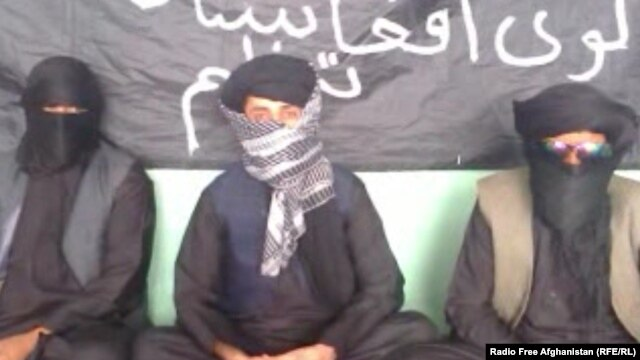 A screen grab from the video sent to RFE/RL's Radio Free Afghanistan shows unidentified Afghans claiming to represent a group called the Islamic Organization of Great Afghanistan, which they say is ready to fight for the Islamic State militant group.