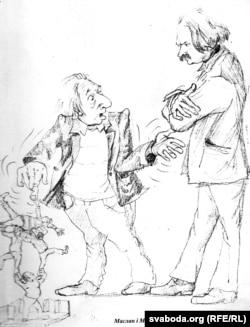 Сяброўскі шарж на калегаў-мастакоў Маслана і Марачкіна