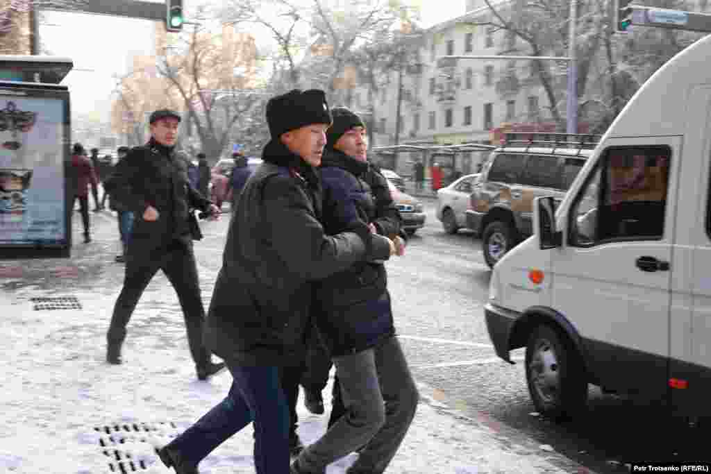 Police detained around 40 demonstrators in Almaty.