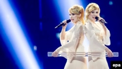 "The Tolmachevy Sisters, representing Russia, performing their song ""Shine"" during rehearsals for the first semifinal of the 59th annual Eurovision Song Contest in Copenhagen on May 5."