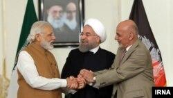 روسای جمهوری افغانستان، ایران و نخستوزیر هند پس از توافق ماه مه ۲۰۱۶ در مورد پروژه چابهار