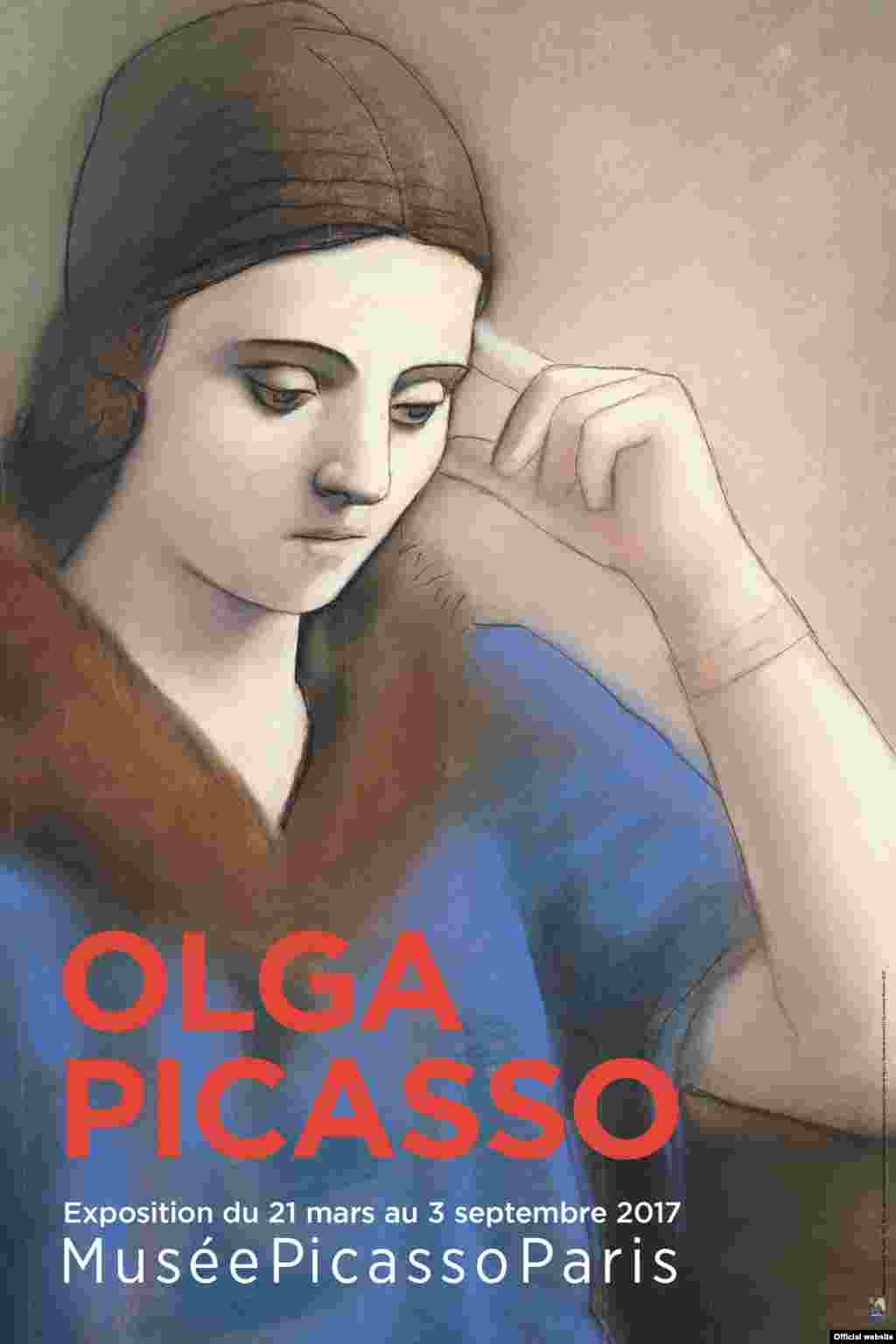 Olga gînditoare, Paris, iarna 1923. Musée national Picasso-Paris. Dation Pablo Picasso, 1979. MP993 Droit auteur : ©Succession Picasso, 2017. Crédit photo : ©RMN-Grand Palais (Musée national Picasso-Paris) / Mathieu Rabeau. Afișul expoziției.