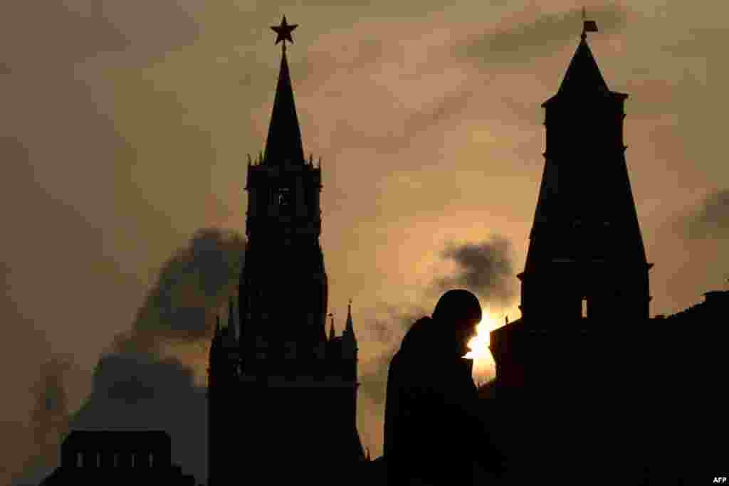 A man walks on Red Square in Moscow. (AFP/Kirill Kudryavtsev)