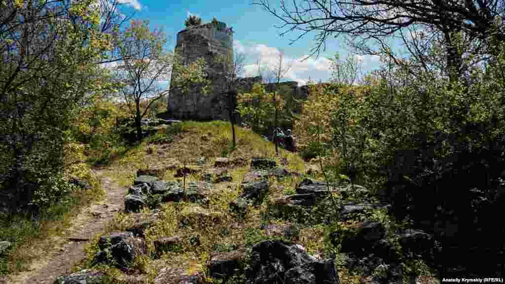 Вежа або так званий замок феодала заввишки сягає 10 метрів. Колись вона була круглою, в два поверхи, розділені дерев'яними перекриттями. Сьогодні до башти примикає оборонна кам'яна стіна із залишками будинків, глиняного посуду, з давно зруйнованим отвором для воріт