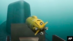 In this video grab from Russian television in March 2018, a computer simulation shows nuclear-powered underwater drone being released by a submarine.