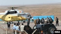 After experiencing problems, Iranian President Mahmud Ahmadinejad's helicopter landed safely in the Alborz Mountains