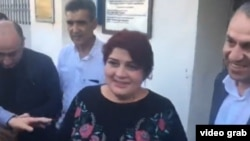 A screen shot of Khadija Ismayilova upon her release from prison on May 25.