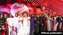 Финалисты музыкального конкурса «Евровидение-2015». Вена, Австрия, 23 мая 2015 года.