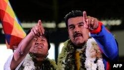 نیکولاس مادورو (راست) در کنار اوو مورالس، رئیس جمهور بولیوی