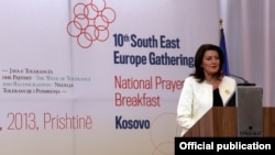 Atifete Jahjaga gjatë fjalimit të saj