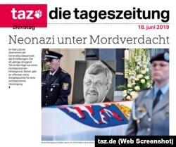 Cazul Lübcke, prima pagină a ziarului taz
