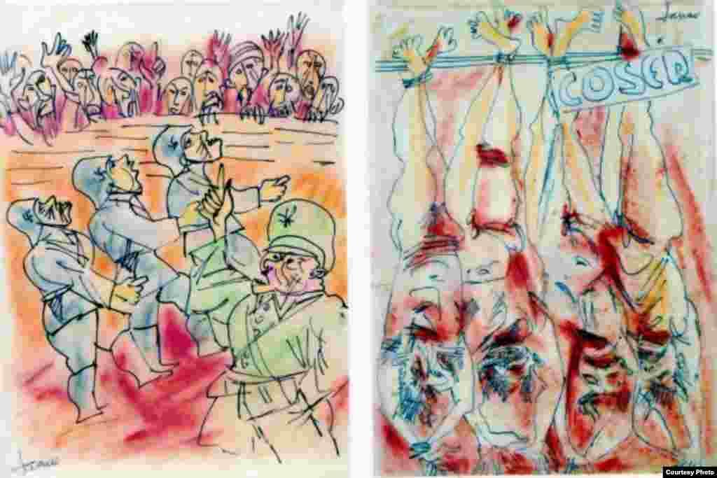 "Marcel Janco, imagini din seria ""Holocaust Drawings"", 1941 (Foto: Vol. Viitorul Memoriei)"
