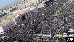 Sunni demonstrators gather for an antigovernment protest in the central city of Samarra on January 11.