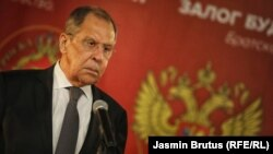 Russian Foreign Minister Sergei Lavrov at a news conference in Sarajevo on December 14