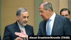 RUSSIA -- MOSCOW REGION, JULY 12, 2018: Ali Akbar Velayati (L), senior adviser to the Supreme Leader of Iran for international affairs, and Russia's Foreign Minister Sergei Lavrov during a meeting at Novo-Ogaryovo residence.