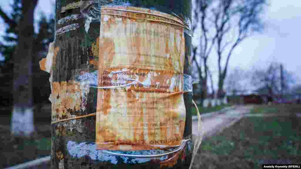 Прошлогоднее объявление на фонарном столбе в центре города