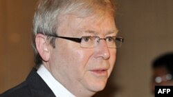 Australian Foreign Minister Kevin Rudd announced the Iran oil embargo during a visit to London on January 24.