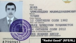 Копия паспорта Джамолиддина Шоева