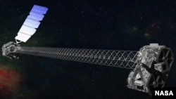 An artist's concept of the NuSTAR satellite in orbit (image courtesy NASA/JPL-Caltech)