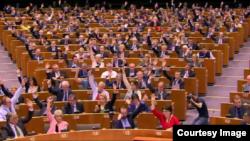 Европарламент одобряет резолюцию о геноциде армянского народа. Страсбург, 15 апреля 2015 года.