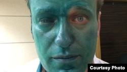 Aleksei Navalny's right eye was badly damaged in the attack.