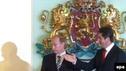 Președintele Georgi Parvanov cu omologul său rus Vladimir Putin la Sofia