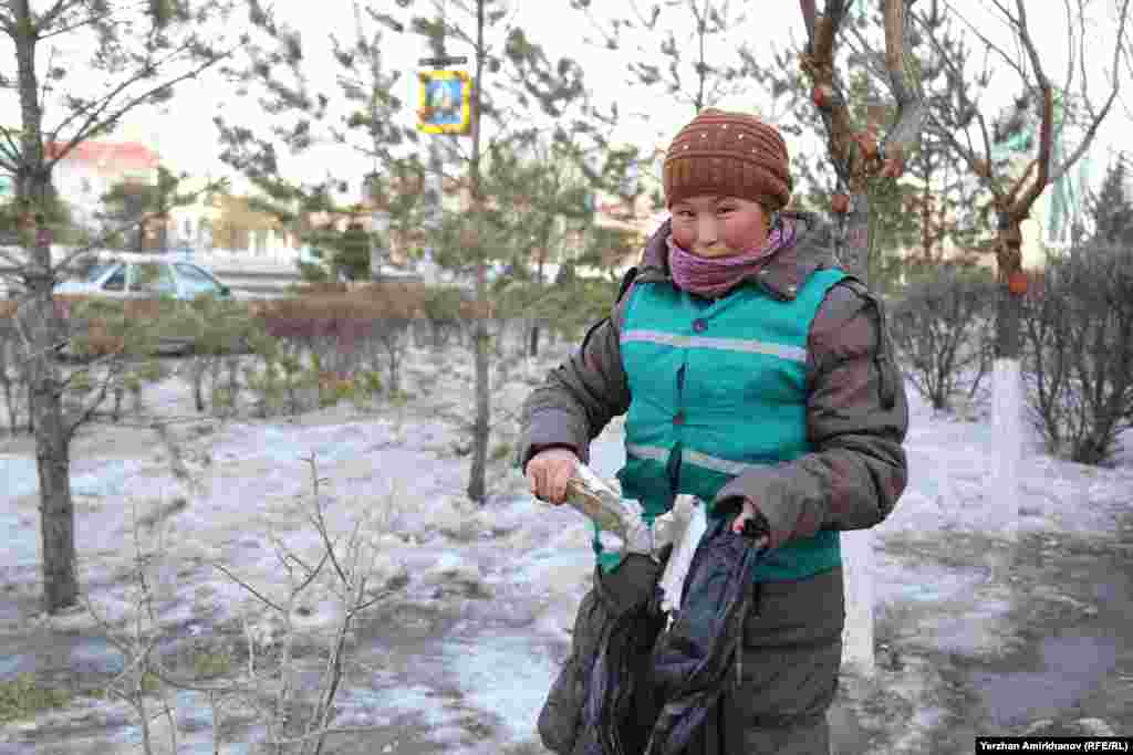 Erkegul Bolat, a street cleaner in the Kazakh capital, Astana