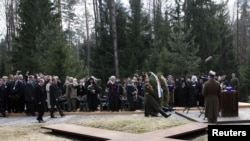 The memorial in the Katyn forest. The Solidarity movemenet is calling for the declassification of all information abouth the Katyn massacre.