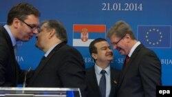 Štefan File i Evangelos Venizelos sa predstavnicima vlasti Srbije Ivicom Dačićem i Aleksandrom Vučićem, Brisel 21. januar 2014.