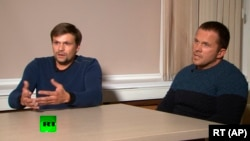 Two men identified as Ruslan Boshirov (left) and Aleksandr Petrov (right), whom British authorities have blamed for the poisoning of Sergei Skripal and his daughter, have been included on the sanctions list.