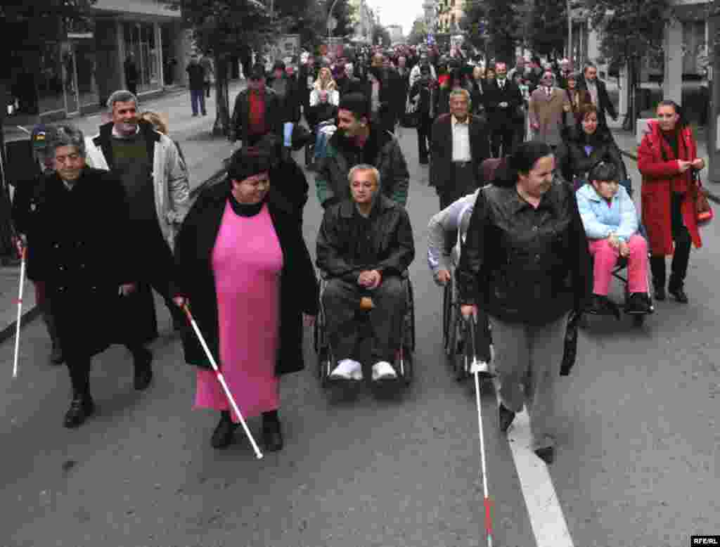People in Podgorica, Montenegro demonstrate for the rights of the disabled. - December 3 marked the International Day of People With Disabilities. Photo by Savo Prelevic for RFE/RL