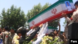 "Iran holds funeral for 19 sailors killed in ""friendly fire"" during a naval excercise in the Gulf of Oman on May 11. May 12, 2020"