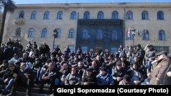 Акция протеста шахтеров в Ткибули, 19 февраля 2016 г.