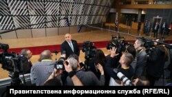 Bulgarian Prime Minister Boyko Borisov speaks to journalists in Brussels on February 21.