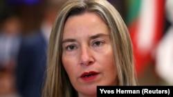 Federica Mogherini la sediul UE la Bruxelles