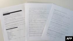 Страницы некоторых из рассекреченных документов, по утверждению официальных представителей американских спецслужб собранных в ходе рейда 2011 года, когда был убит лидер «Аль-Каиды» Усама бен Ладен.